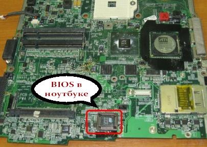 Микросхема BIOS на материнской плате ноутбука