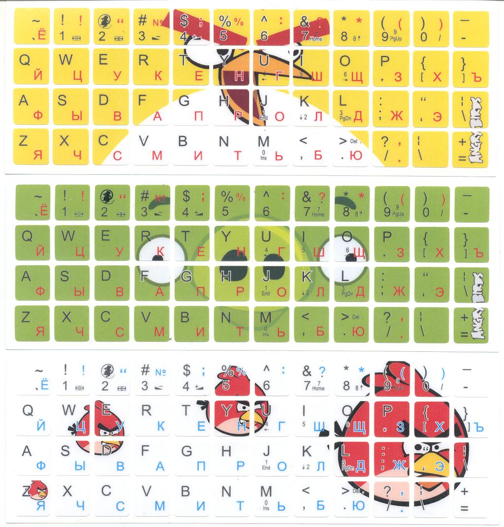 Стикеры для клавиатуру ноутбуков Angry Birds
