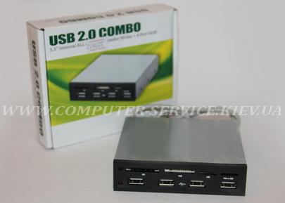Картридер на переднюю панель компьютера (ALL-IN-ONE + 4 USB 2.0)