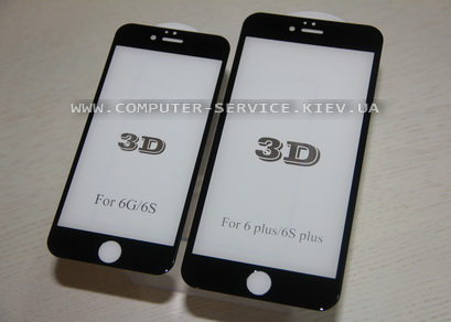 3D стекло на iPhone 6, 6S, 6plus чёрное